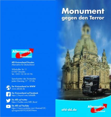 """Faltblatt-Gedanken zum """"Monument"""" auf dem Dresdner Neumarkt. Bald am Infostand erhältlich."""
