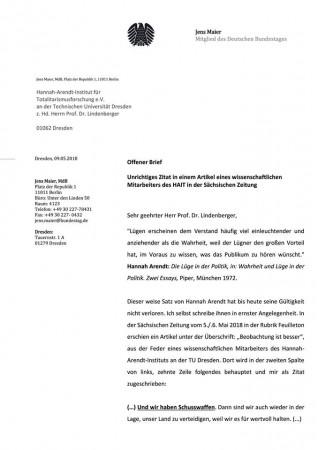 Jens Maier, MdB: Offener Brief an das Hannah-Arendt-Institut für Totalitarismusforschung