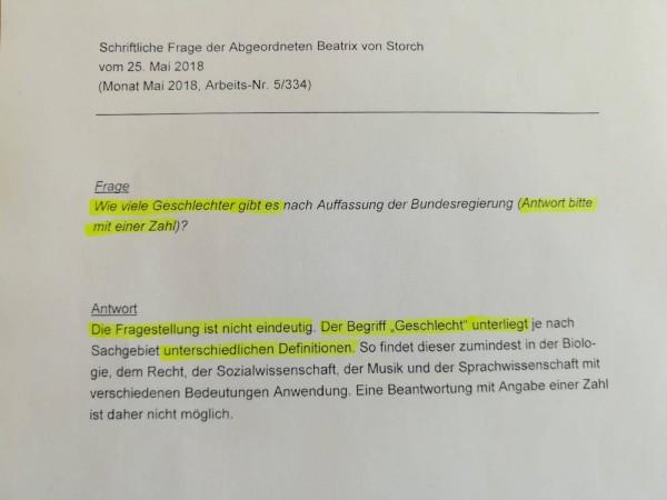 Beatrix von Storch: Die Bundesregierung kann nicht sagen, wie viele Geschlechter es gibt