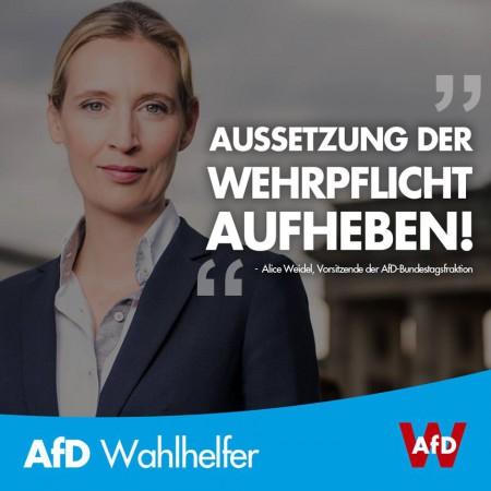 Alice Weidel: Aussetzung der Wehrpflicht aufheben