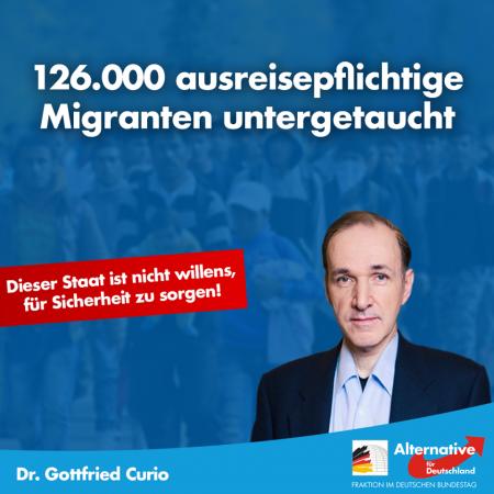 Gottfried Curio: 126.000 ausreisepflichtige Migranten untergetaucht