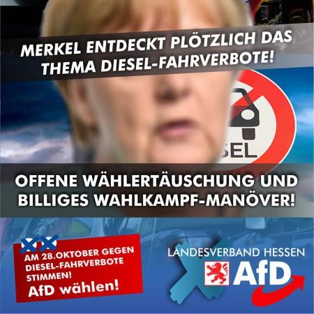 "Billiges Wahlkampf-Manöver: Merkel entdeckt plötzlich das Thema ""Fahrverbote""!"