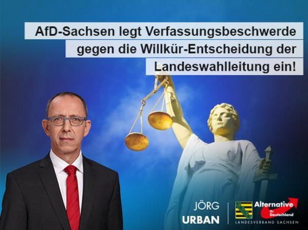 AfD-Sachsen legt Verfassungsbeschwerde gegen die Willkür-Entscheidung der Landeswahlleitung ein!