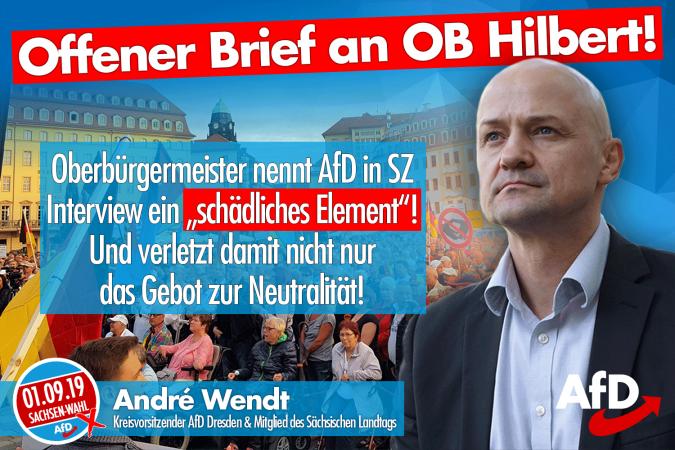 AfD-Kreisvorsitzender André Wendt mit einem offenen Brief an Dresdens OB Dirk Hilbert