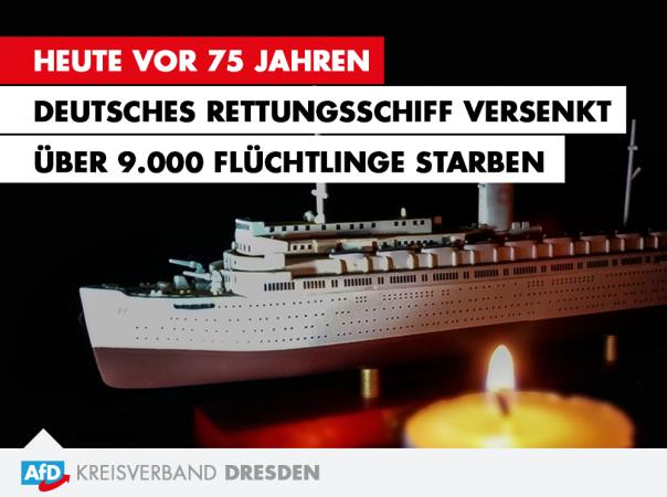 Heute vor 75 Jahren. Deutsches Rettungsschiff versenkt / Über 9.000 Flüchtlinge starben.