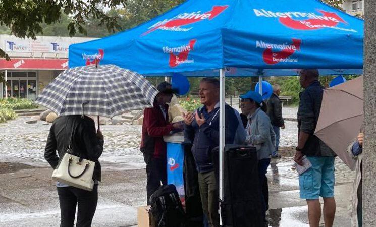 Selbst am Sonntag und bei Regen ist die AfD vor Ort