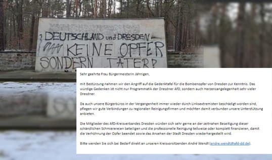Denkmalschändung in Dresden. AfD Kreisverband bietet der Stadt Hilfe an!